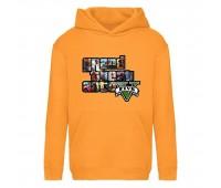 Худи детская  GTA 001 (Grand Theft Auto) оранжевая (GTA orn 001) 116 см