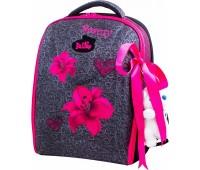 Рюкзак-ранец DeLune 7-140 школьный ортопедический с 3D изображением серый с розовым