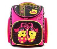 Рюкзак-ранец DeLune 3-142 школьный ортопедический с 3D изображением розовый с черным