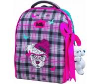 Рюкзак-ранец DeLune 7-143 школьный ортопедический с 3D изображением серый с розовым