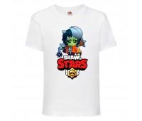 Футболка детская Brawl Stars Bibi Zombie (Бравл Старс Биби Зомби) белая 104 см