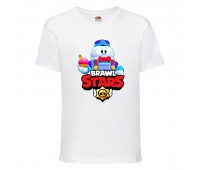 Футболка детская Brawl Stars Lou (Бравл Старс Лу) белая 104 см