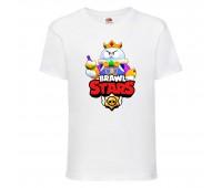 Футболка детская Brawl Stars Lou King (Бравл Старс Лу Король) белая 104 см