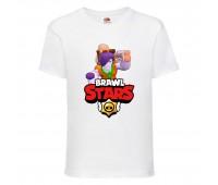 Футболка детская Brawl Stars Caveman Frank (Бравл Старс Фрэнк Пещерный) белая 104 см
