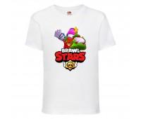 Футболка детская Brawl Stars Holiday Frank (Бравл Старс Фрэнк Праздничный) белая 104 см