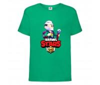 Футболка детская Brawl Stars Bayron (Бравл Старс Байрон) зеленая 104 см