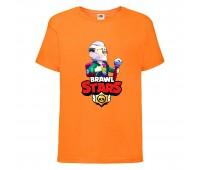 Футболка детская Brawl Stars Bayron (Бравл Старс Байрон) оранжевая 104 см