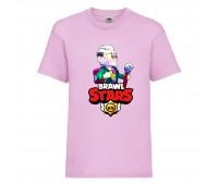 Футболка детская Brawl Stars Bayron (Бравл Старс Байрон) розовая 104 см