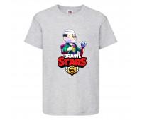 Футболка детская Brawl Stars Bayron (Бравл Старс Байрон) серая 104 см