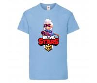 Футболка детская Brawl Stars Belle (Бравл Старс Бэлль) голубая 104 см