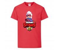 Футболка детская Brawl Stars Belle (Бравл Старс Бэлль) красная 104 см
