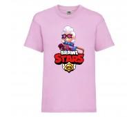Футболка детская Brawl Stars Belle (Бравл Старс Бэлль) розовая 104 см