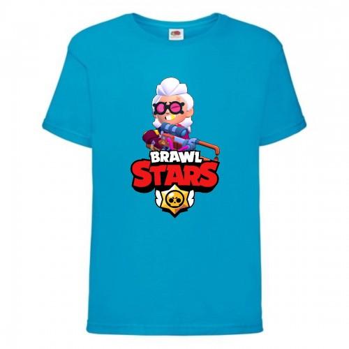 Футболка детская Brawl Stars Belle (Бравл Старс Бэлль) синяя 104 см