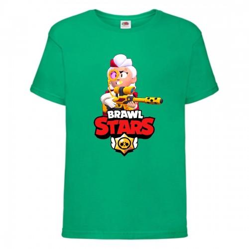 Футболка детская Brawl Stars Belle Gold (Бравл Старс Бэлль Золотая) зеленая 104 см
