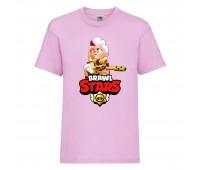 Футболка детская Brawl Stars Belle Gold (Бравл Старс Бэлль Золотая) розовая 104 см