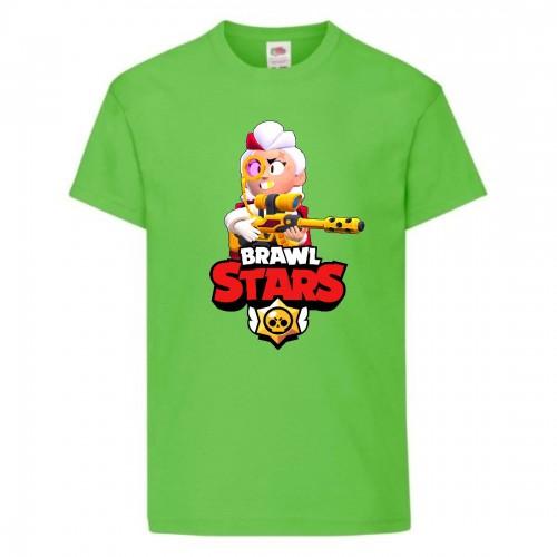 Футболка детская Brawl Stars Belle Gold (Бравл Старс Бэлль Золотая) светлозеленая 104 см