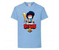 Футболка детская Brawl Stars Bibi Avenger (Бравл Старс Биби Мстительница) голубая 104 см