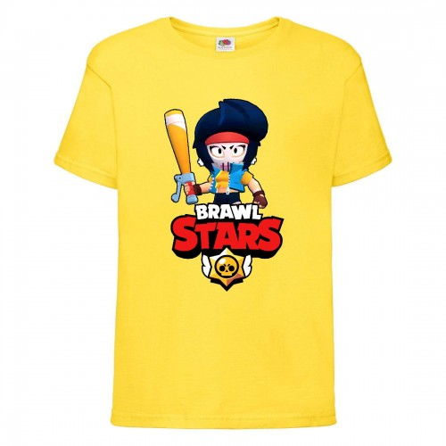 Футболка детская Brawl Stars Bibi Avenger (Бравл Старс Биби Мстительница) желтая 104 см