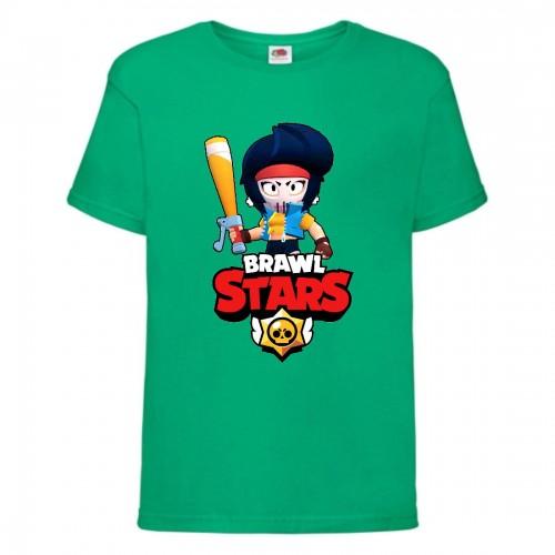 Футболка детская Brawl Stars Bibi Avenger (Бравл Старс Биби Мстительница) зеленая 104 см