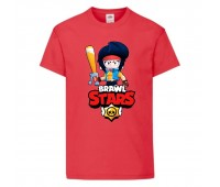 Футболка детская Brawl Stars Bibi Avenger (Бравл Старс Биби Мстительница) красная 104 см