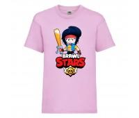 Футболка детская Brawl Stars Bibi Avenger (Бравл Старс Биби Мстительница) розовая 104 см