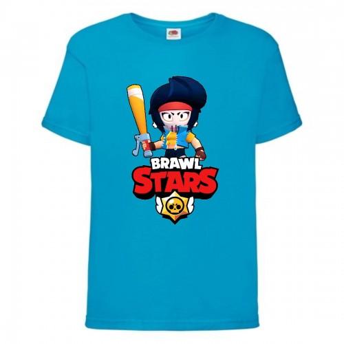 Футболка детская Brawl Stars Bibi Avenger (Бравл Старс Биби Мстительница) синяя 104 см