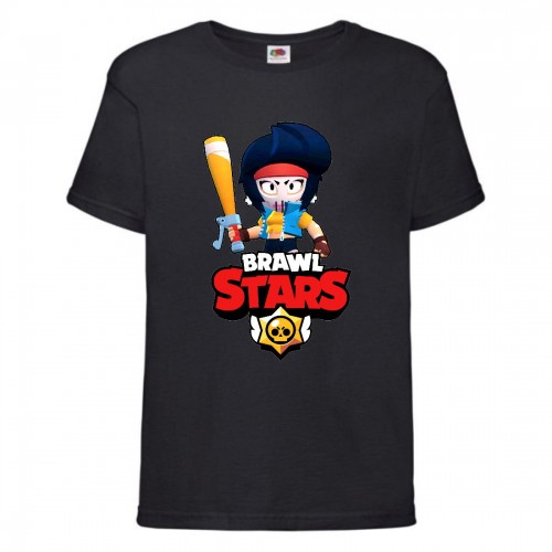 Футболка детская Brawl Stars Bibi Avenger (Бравл Старс Биби Мстительница) черная 104 см