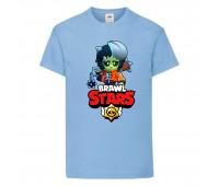 Футболка детская Brawl Stars Bibi Zombie (Бравл Старс Биби Зомби) голубая 104 см