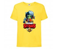 Футболка детская Brawl Stars Bibi Zombie (Бравл Старс Биби Зомби) желтая 104 см