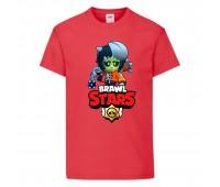 Футболка детская Brawl Stars Bibi Zombie (Бравл Старс Биби Зомби) красная 104 см