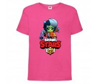 Футболка детская Brawl Stars Bibi Zombie (Бравл Старс Биби Зомби) малиновая 104 см
