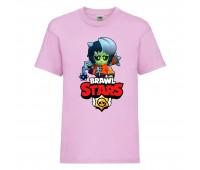 Футболка детская Brawl Stars Bibi Zombie (Бравл Старс Биби Зомби) розовая 104 см