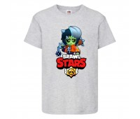 Футболка детская Brawl Stars Bibi Zombie (Бравл Старс Биби Зомби) серая 104 см