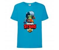 Футболка детская Brawl Stars Bibi Zombie (Бравл Старс Биби Зомби) синяя 104 см