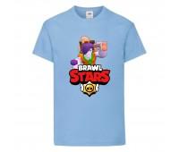 Футболка детская Brawl Stars Caveman Frank (Бравл Старс Фрэнк Пещерный) голубая 104 см