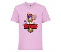 Футболка детская Brawl Stars Caveman Frank (Бравл Старс Фрэнк Пещерный) розовая 104 см