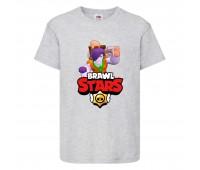 Футболка детская Brawl Stars Caveman Frank (Бравл Старс Фрэнк Пещерный) серая 104 см