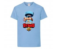 Футболка детская Brawl Stars Colonel Ruffs 70 lvl (Бравл Старс Генерал Гавс 70 ур) голубая 104 см