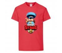 Футболка детская Brawl Stars Colonel Ruffs 70 lvl (Бравл Старс Генерал Гавс 70 ур) красная 104 см