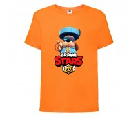 Футболка детская Brawl Stars Colonel Ruffs 70 lvl (Бравл Старс Генерал Гавс 70 ур) оранжевая 104 см