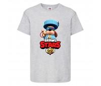 Футболка детская Brawl Stars Colonel Ruffs 70 lvl (Бравл Старс Генерал Гавс 70 ур) серая 104 см