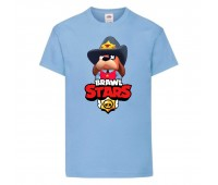 Футболка детская Brawl Stars Colonel Ruffs Sheriff (Бравл Старс Генерал Гавс Шериф) голубая 104 см
