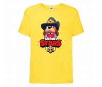 Футболка детская Brawl Stars Colonel Ruffs Sheriff (Бравл Старс Генерал Гавс Шериф) желтая 104 см