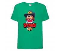 Футболка детская Brawl Stars Colonel Ruffs Sheriff (Бравл Старс Генерал Гавс Шериф) зеленая 104 см