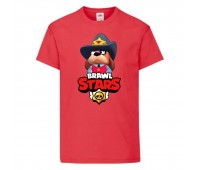 Футболка детская Brawl Stars Colonel Ruffs Sheriff (Бравл Старс Генерал Гавс Шериф) красная 104 см