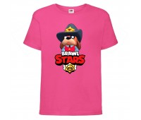 Футболка детская Brawl Stars Colonel Ruffs Sheriff (Бравл Старс Генерал Гавс Шериф) малиновая 104 см
