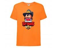 Футболка детская Brawl Stars Colonel Ruffs Sheriff (Бравл Старс Генерал Гавс Шериф) оранжевая 104 см