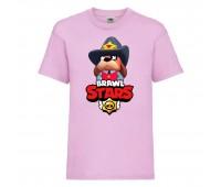 Футболка детская Brawl Stars Colonel Ruffs Sheriff (Бравл Старс Генерал Гавс Шериф) розовая 104 см