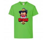 Футболка детская Brawl Stars Colonel Ruffs Sheriff (Бравл Старс Генерал Гавс Шериф) светлозеленая 104 см