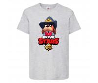 Футболка детская Brawl Stars Colonel Ruffs Sheriff (Бравл Старс Генерал Гавс Шериф) серая 104 см